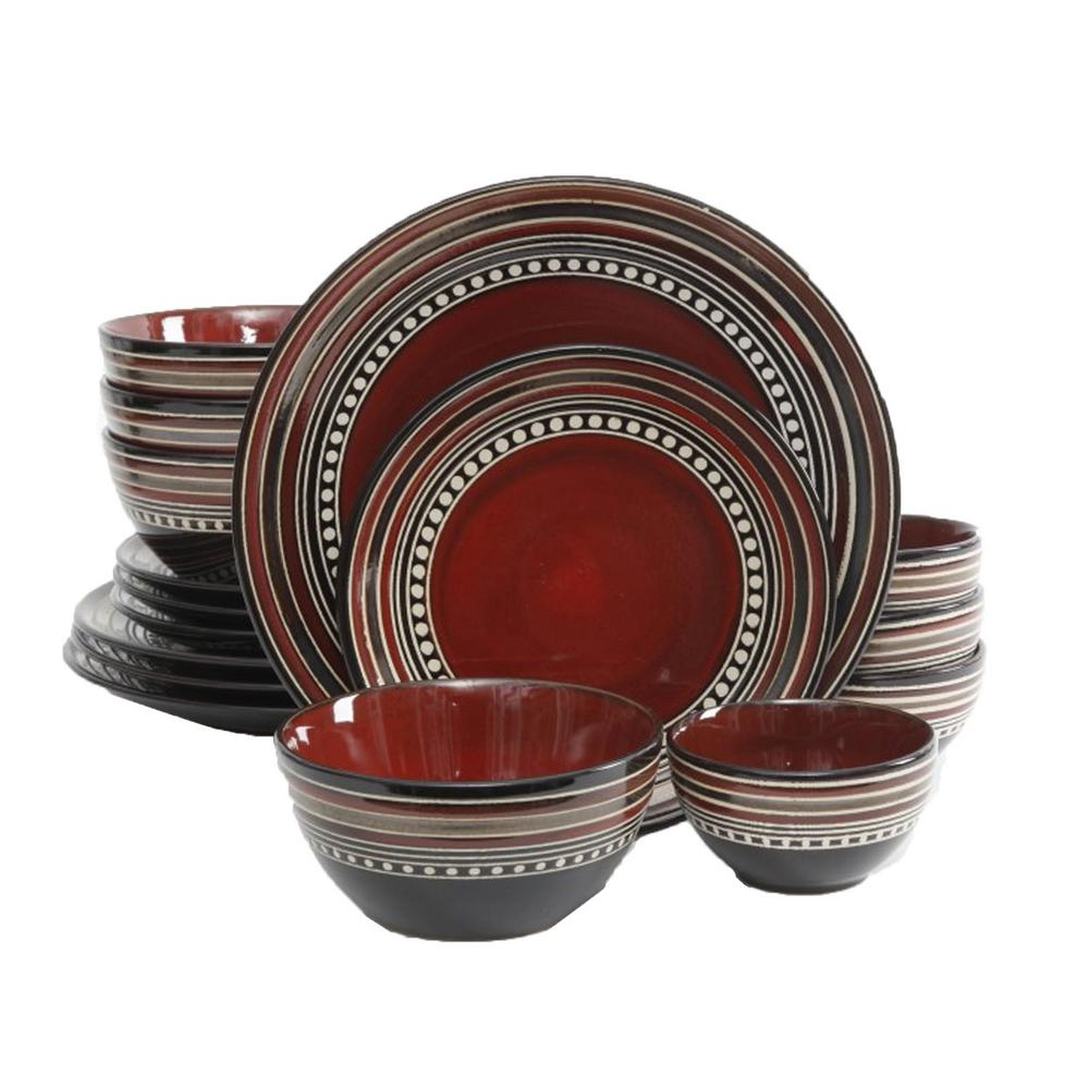 GIBSON Elite Cafe Versailles 16 Piece Red Double Bowl Dinnerware Set
