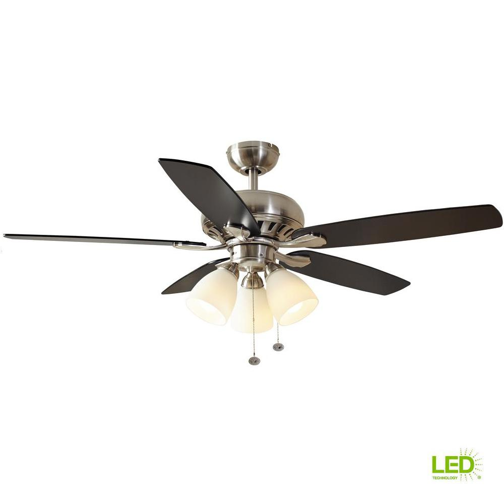 Hampton Bay Rockport 52 in. LED Brushed Nickel Ceiling Fan with Light on