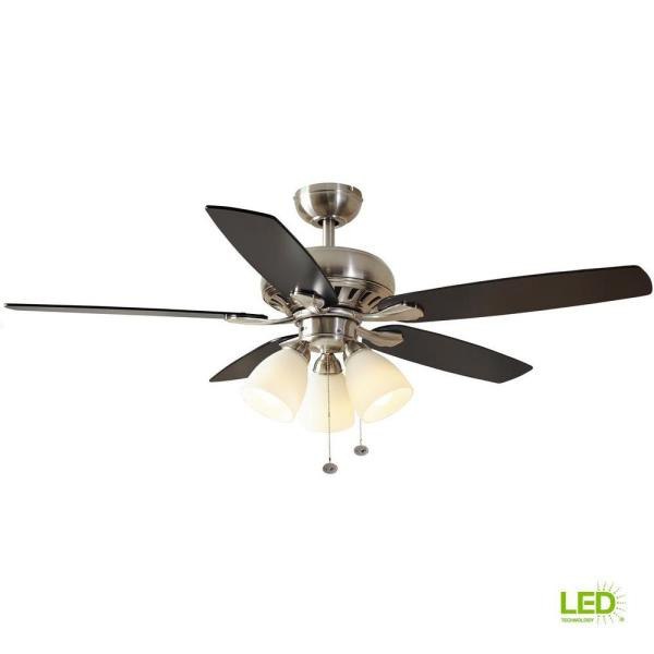 Hampton Bay Rockport 52 In Led Brushed Nickel Ceiling Fan With Light Kit 51750 The Home Depot