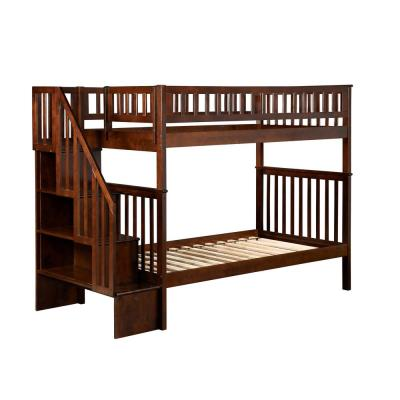 Woodland Walnut Twin Over Twin Staircase Bunk Bed