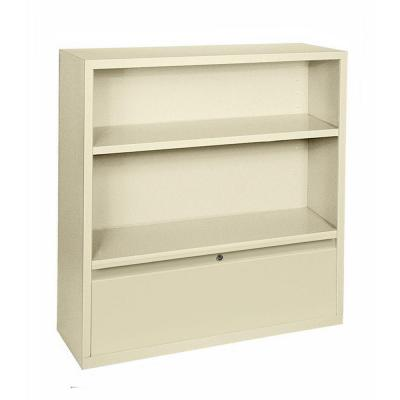 42 in. Putty Metal 2-shelf Standard Bookcase with Adjustable Shelves