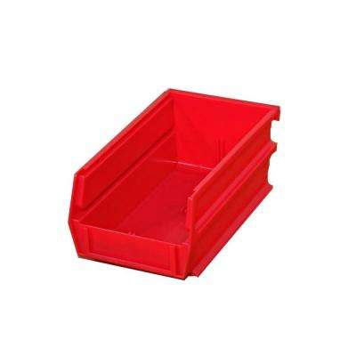 5-3/8 in. L x 4-1/8 in. W x 3 in. H Red Stacking, Hanging, Interlocking Polypropylene Bins (10-Count)