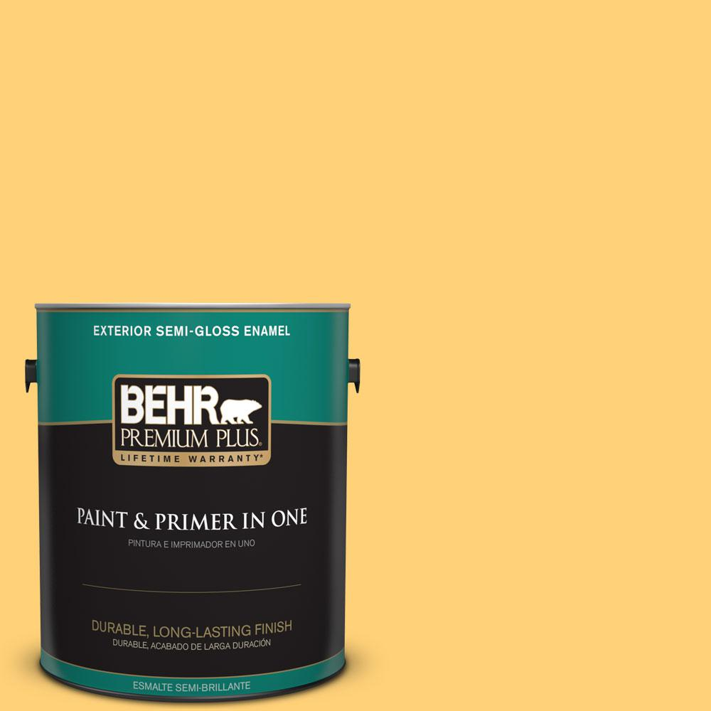 1-gal. #P260-5 Yellow Jubilee Semi-Gloss Enamel Exterior Paint