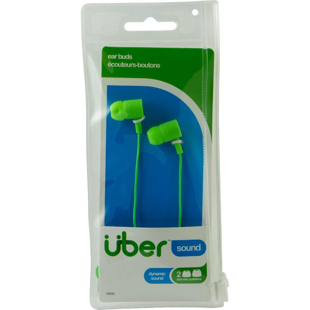 Uber Rubberized Ear Buds - Green