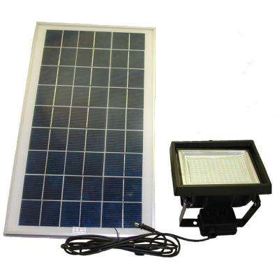 Solar Black 156 SMD-LED Outdoor Flood Light with Remote Control Timer