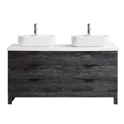 Spencer 60 in. W x 20 in. D Bath Vanity in Grey with Quartz Vanity Top in White with White Basins