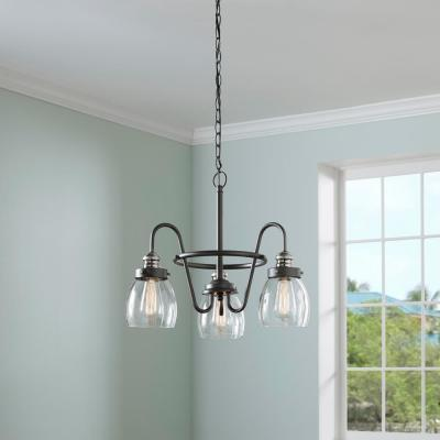 Crofton 3-Light Rustic Pewter Chandelier with Brushed Nickel Accents and Clear Seeded Glass
