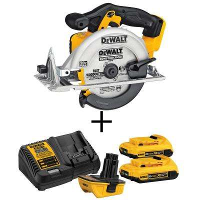 20-Volt MAX Lithium-Ion Cordless Circular Saw With Bonus 18-Volt to 20-Volt Max Lithium-ion Battery Adapter Kit (2-Pack)
