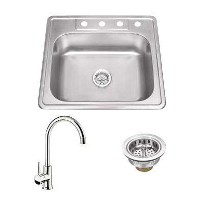 All-in-One Drop In Stainless Steel 25 in. 4-Hole Single Bowl Kitchen Sink with Polished Chrome Kitchen Faucet
