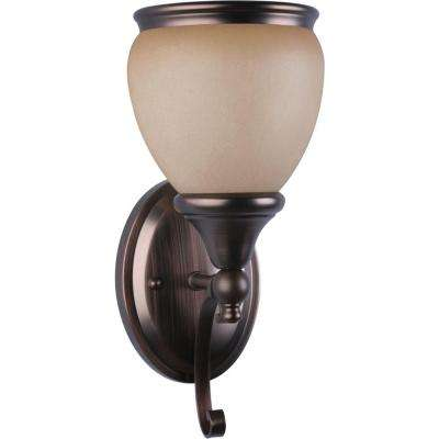 Camden 1-Light Indoor Florence Bronze Bath or Vanity Light Wall Mount or Wall Sconce with Sandstone Glass Bell Shade