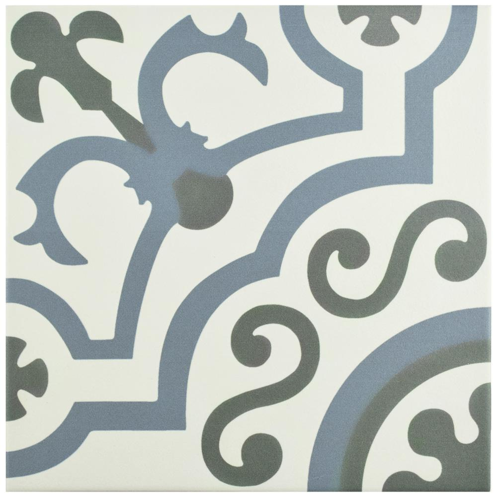 Hidraulico Ducados Encaustic 9-3/4 in. x 9-3/4 in. Porcelain Floor and