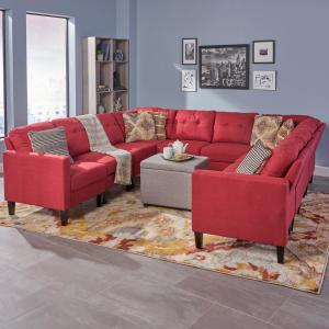 Noble House Delilah Mid-Century Modern 10-Piece Red Fabric U ...