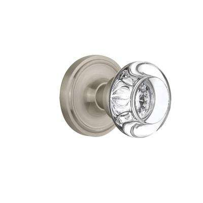 Classic Rosette 2-3/4 in. Backset Satin Nickel Privacy Bed/Bath Round Clear Crystal Glass Door Knob