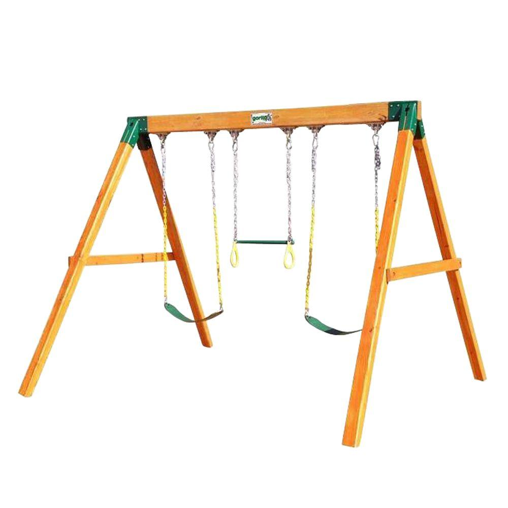 Gorilla Playsets Free Standing Wooden Swing Set With 2 Belt Swing