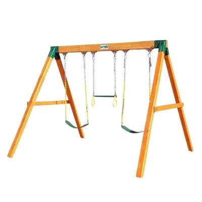Free Standing Wooden Swing Set with 2 Belt Swing and Trapeze Bar
