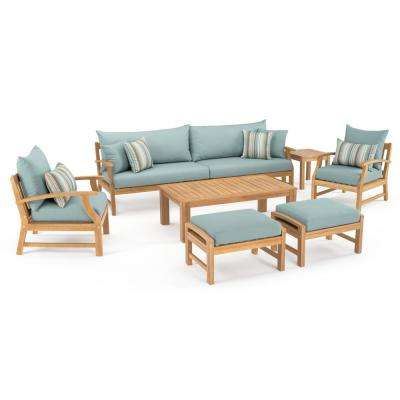 Kooper 8-Piece Wood Patio Conversation Set with Bliss Blue Cushions