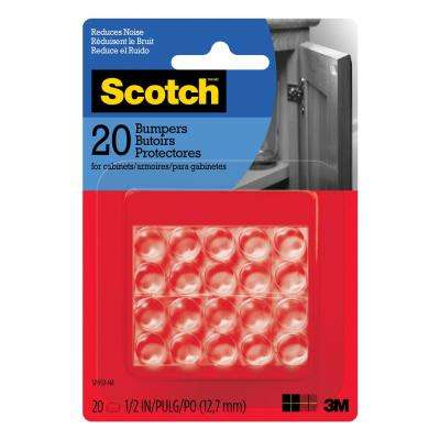 Scotch 1/2 in. Clear Round Self Stick Rubber Bumpers ((20-Pack))(Case of 24)