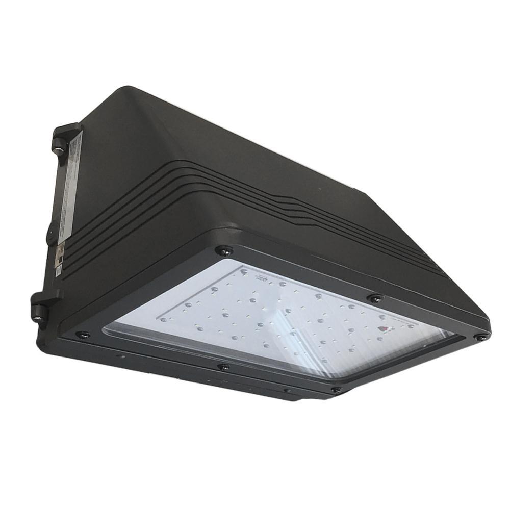 Full Cutoff 250-Watt Equivalent 5000K Integrated LED Bronze Dusk to Dawn Dark Sky Wall Pack Light