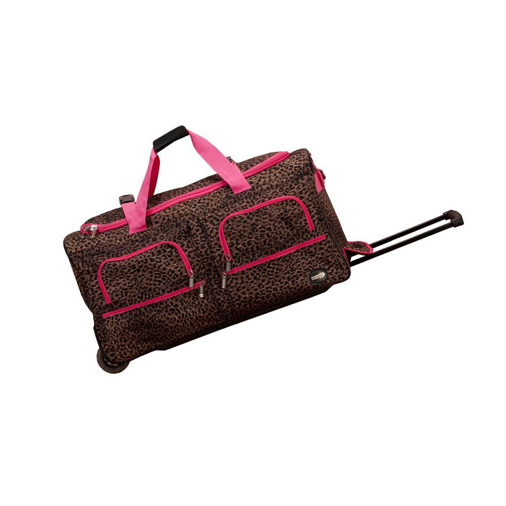 Rockland Voyage 30 in. Rolling Duffle Bag, Pinkleopard