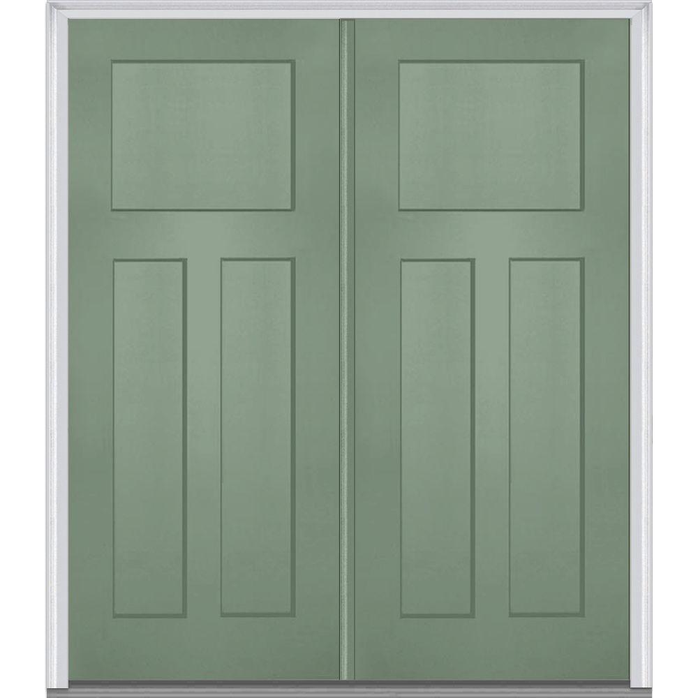 MMI Door 72 in. x 80 in. Left-Hand Inswing Craftsman 3-Panel Shaker Classic Primed Fiberglass Smooth Prehung Front Door