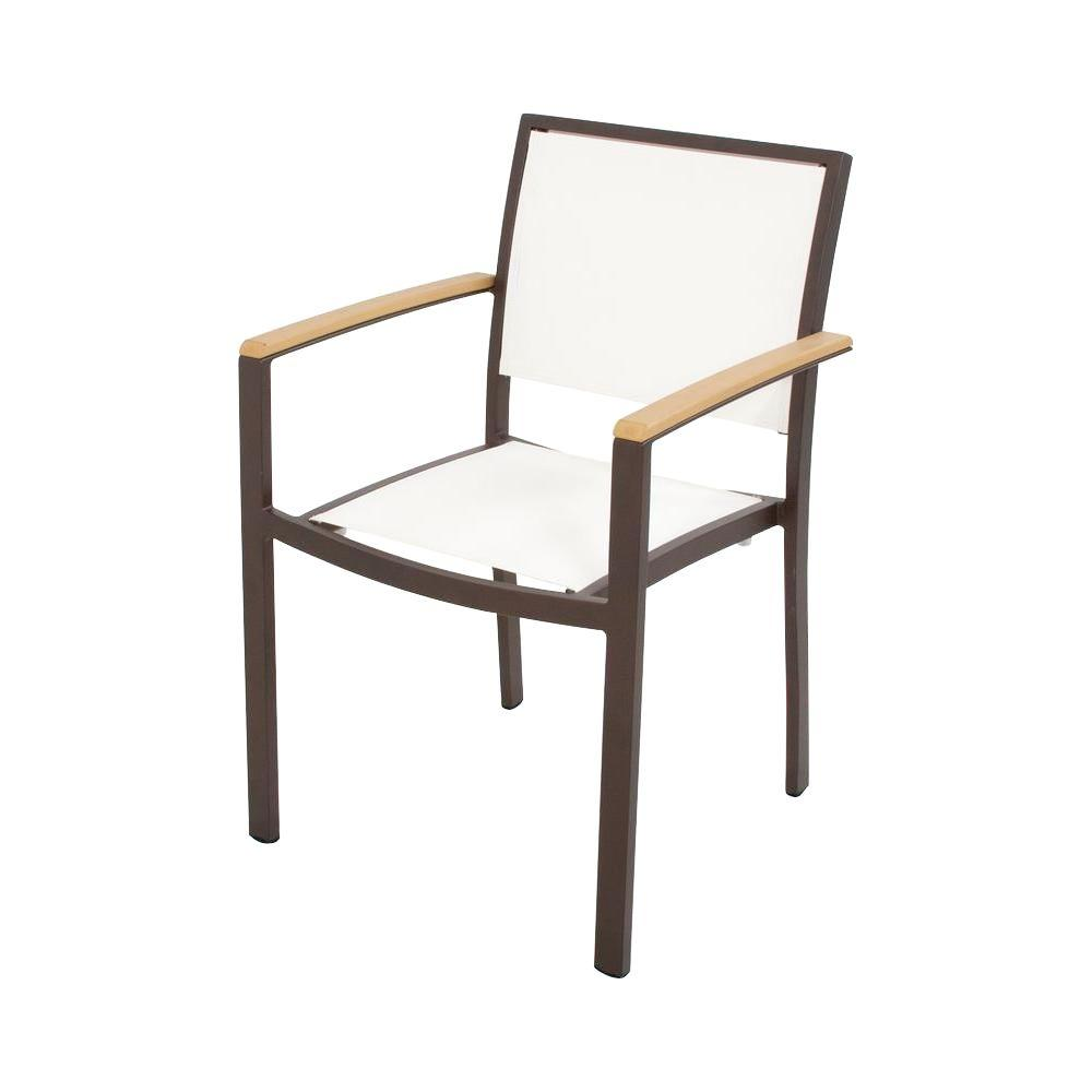 Bayline Textured Bronze/Plastique Plastic/Sling OutdoorDining Arm Chair in White