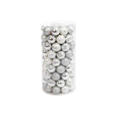 Silver Shatterproof Ball Ornaments (100-Pack)