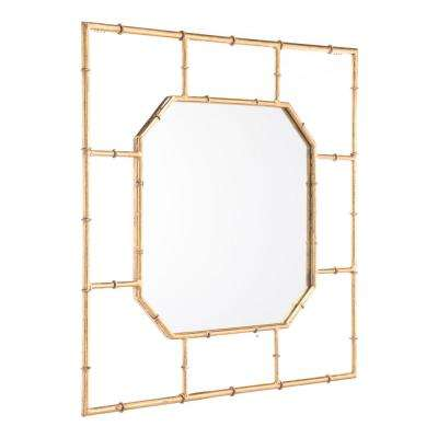 Bamboo Square Gold Wall Mirror