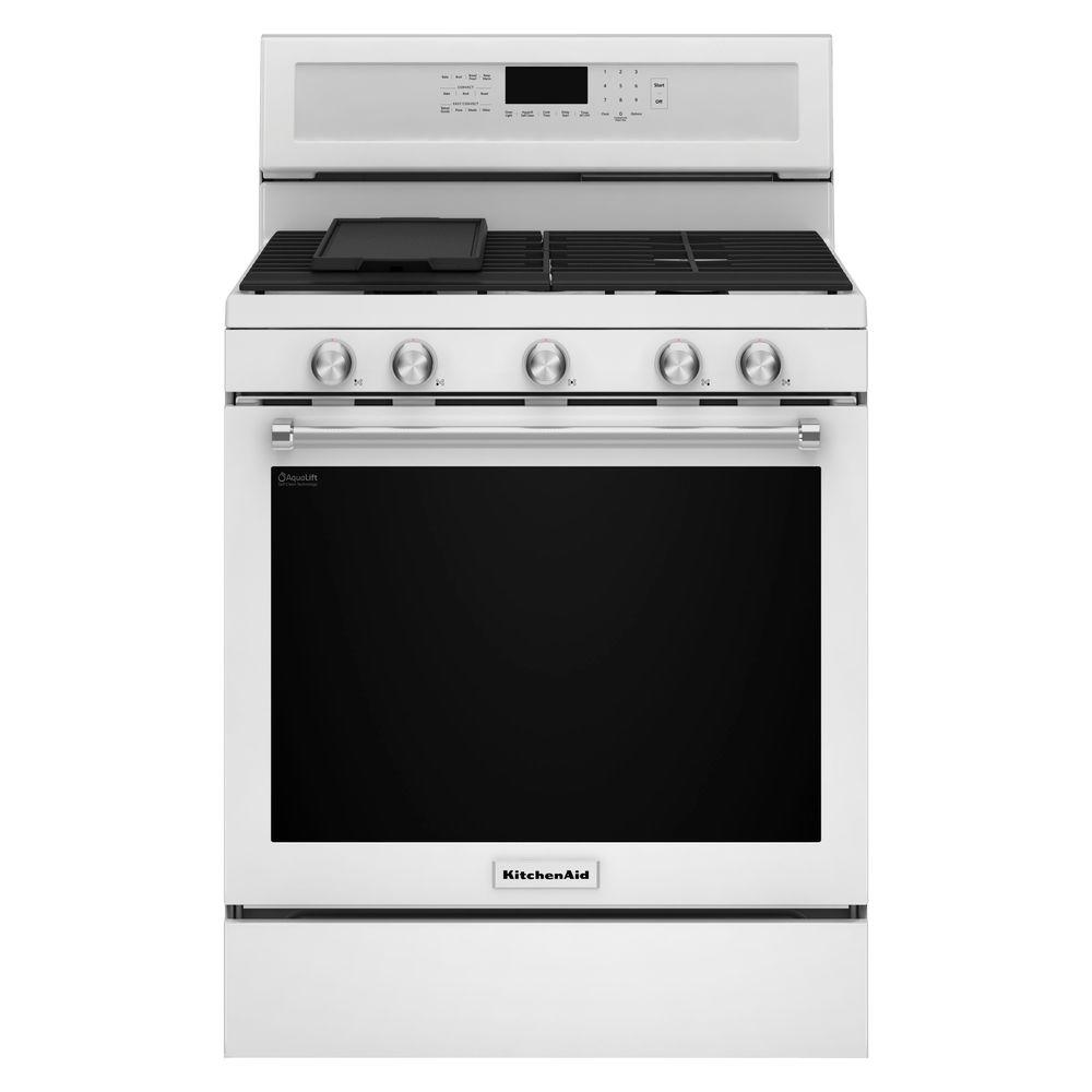 Kitchenaid 5 8 Cu Ft Gas Range With Self Cleaning Oven In White