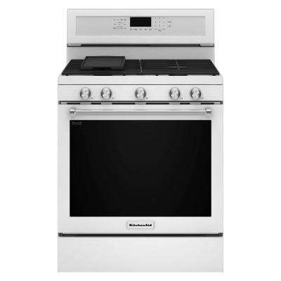 30 in. 5.8 cu. ft. Gas Range with Self-Cleaning Oven in White