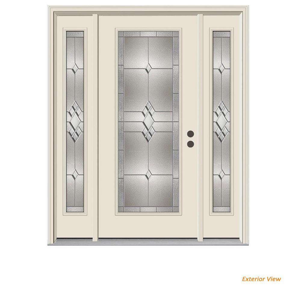 66 in. x 80 in. Full Lite Kingston Primed Steel Prehung Left-Hand Inswing Front Door with Sidelites