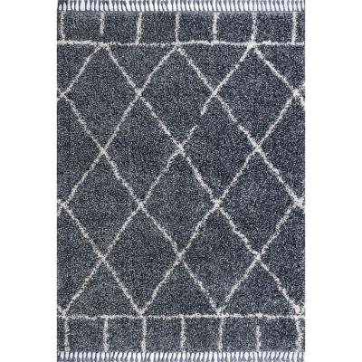 Mercer Shag Plush Tassel Moroccan Geometric Trellis Denim Blue/Cream 3 ft. x 5 ft. Area Rug