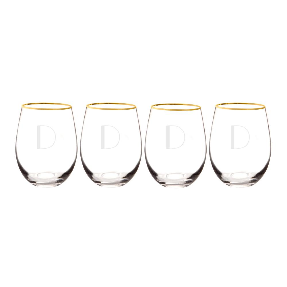 Personalized Gold Rim Stemless Wine Glasses - D