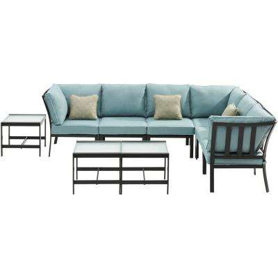 Murano 9-Piece Metal Patio Conversation Set with Ocean Blue Cushions