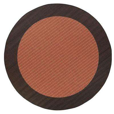 Checkered Field Terracotta 9 Ft Round Area Rug