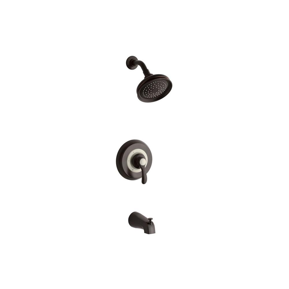 KOHLER Fairfax 1-Handle 1-Spray 2.5 GPM Tub and Shower Faucet with Lever Handle in Oil-Rubbed Bronze (Valve Not Included)