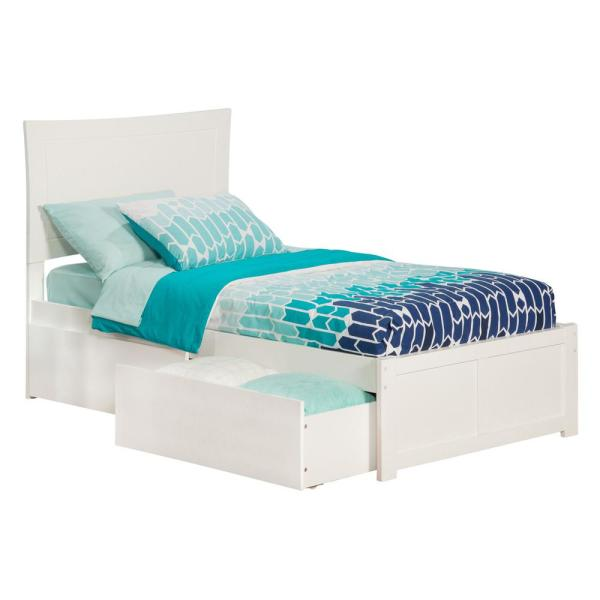 Atlantic Furniture Metro White Twin Platform Bed with Flat Panel Foot Board and 2-Urban Bed Drawers