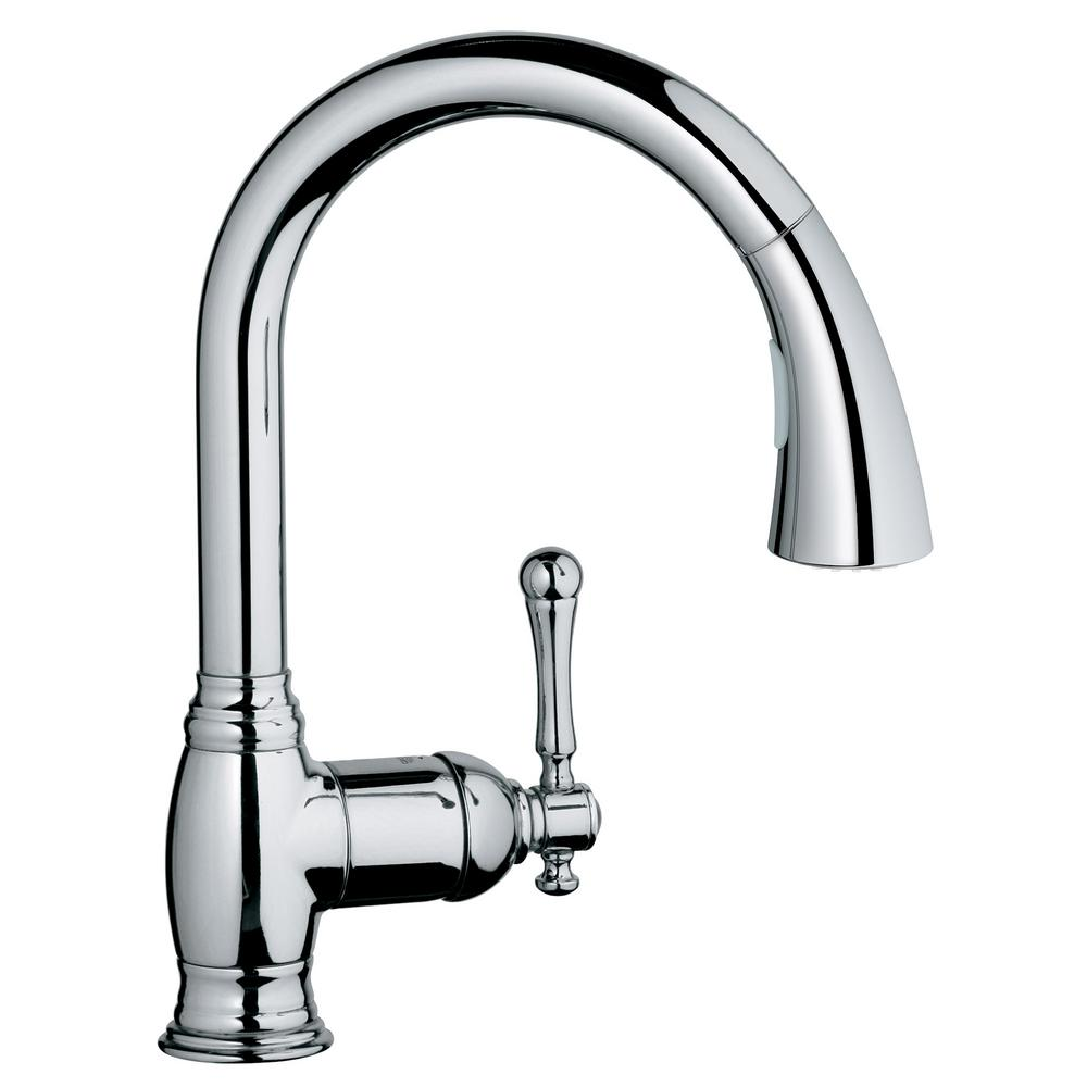 Grohe Bridgeford Single Handle Pull Down Sprayer Kitchen Faucet With Dual Spray In Starlight Chrome 33870002 The Home Depot