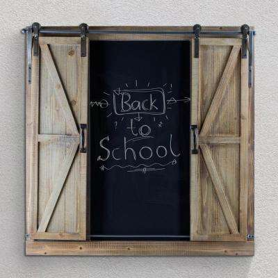 Wood/Metal Chalkboard Message Board with Barn Doors