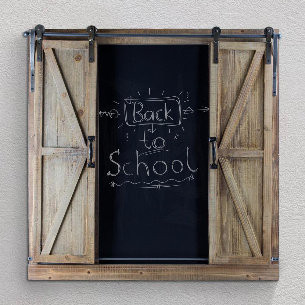 Wood/Metal Chalkboard Message Board with Barn Doors