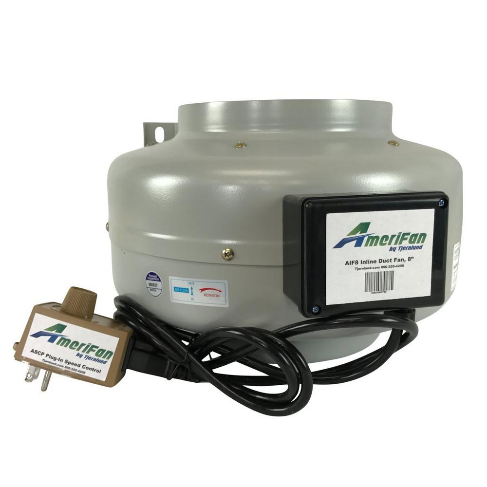 AmeriFan Duct Booster 10 in. x 8 in. Exhaust Growing Hydroponics Heating Cooling Venting HVAC Steel 120-Volt