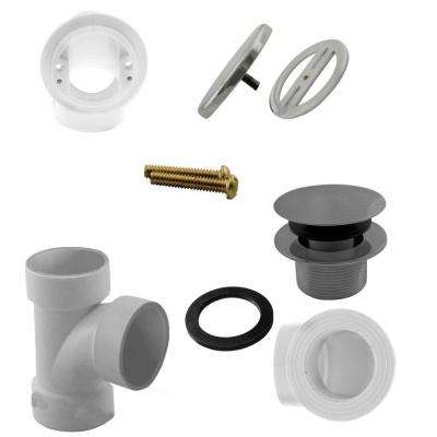 Illusionary Overflow, Sch. 40 PVC Plumbers Pack with Tip-Toe Bath Drain in Satin Nickel