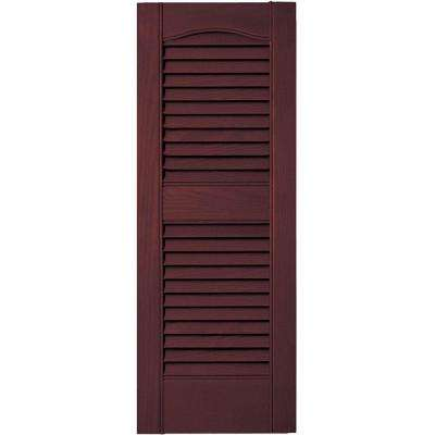 12 in. x 31 in. Louvered Vinyl Exterior Shutters Pair #167 Bordeaux
