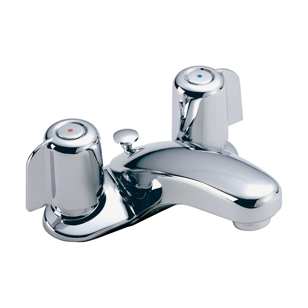 Symmons Symmetrix 4 in. Centerset 2-Handle Bathroom Faucet with Pop-Up Drain in Satin Nickel