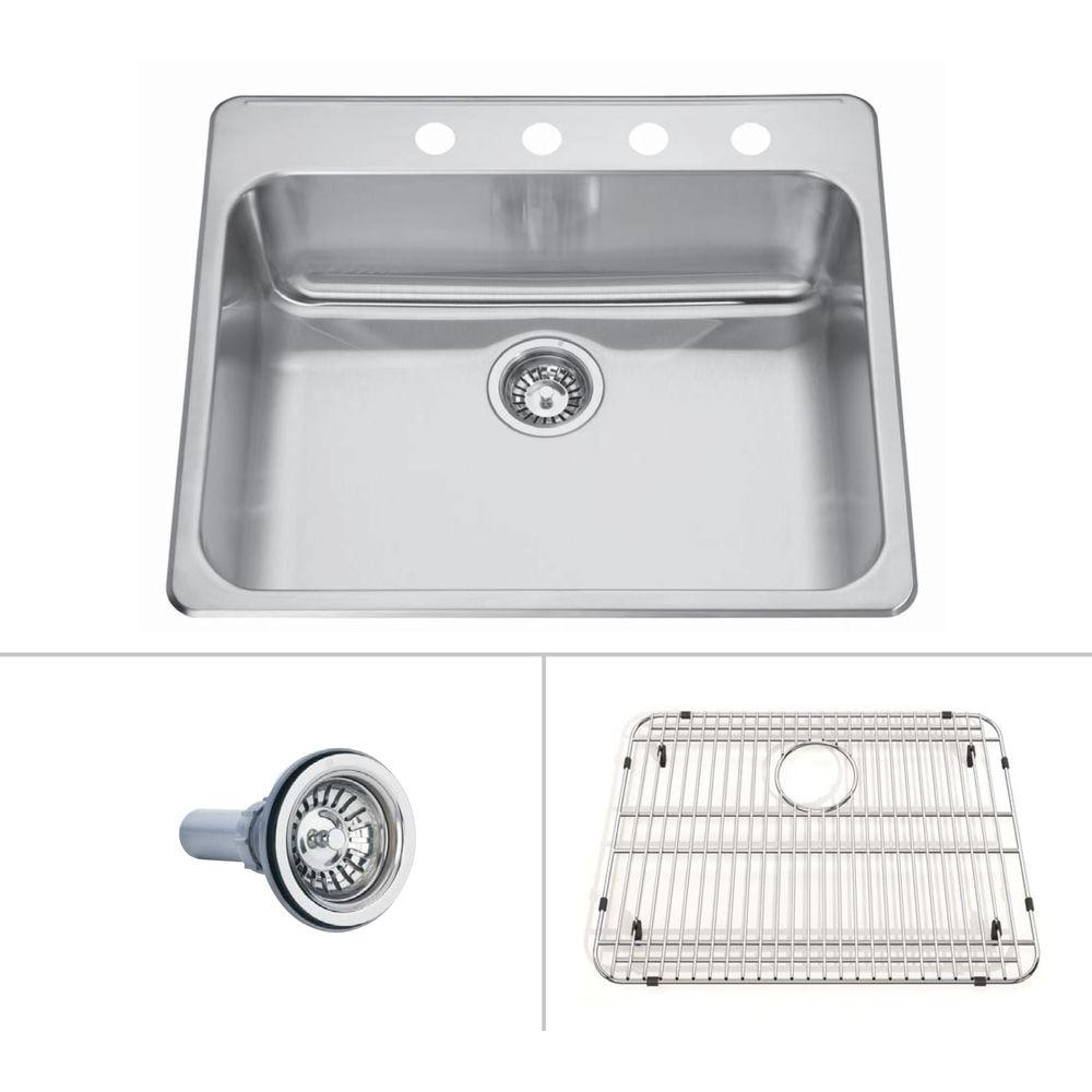 SINKOLOGY Pinnacle Drop-in Stainless Steel 25 in. 4-Hole Single Basin Kitchen Sink with Satin Finish