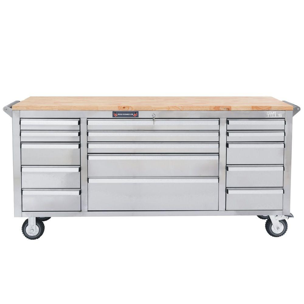 YourTools 72 in. 15-Drawer Tool Chest, Silver-Y1572S - The Home Depot