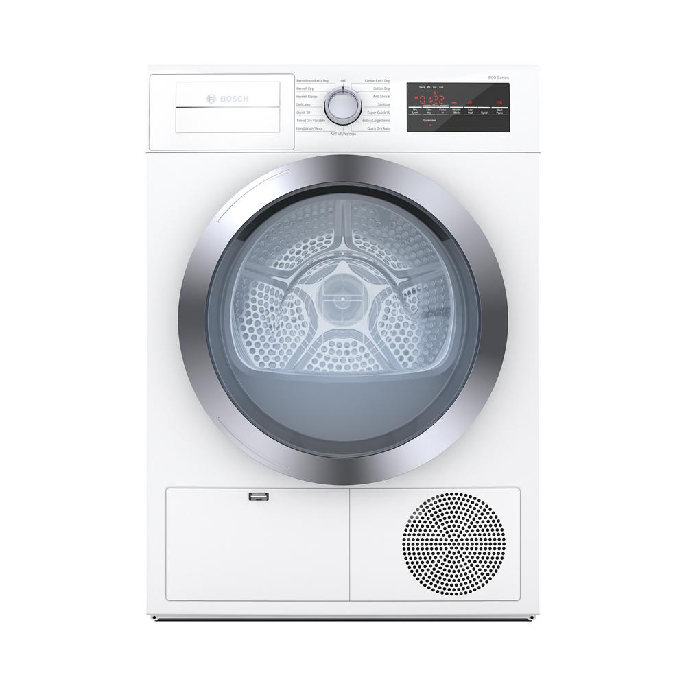 Bosch 800 Series 24 in. 4 cu. ft. White with Chrome Accents Electric Condensation Compact Dryer, ENERGY STAR