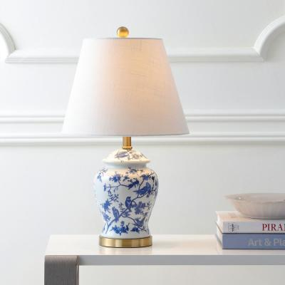 Penelope 22 in. Blue/White Chinoiserie Table Lamp