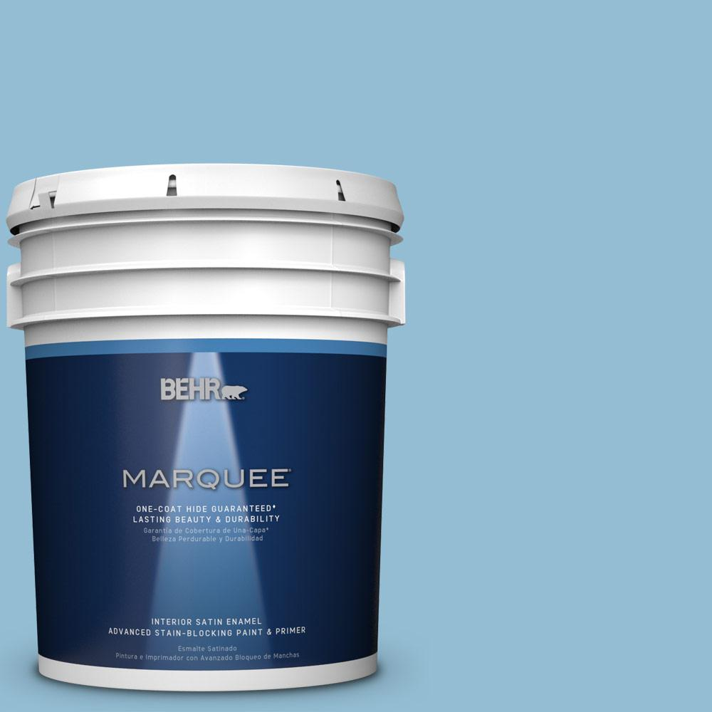 5 gal. #M500-3 Blue Chalk One-Coat Hide Satin Enamel Interior Paint