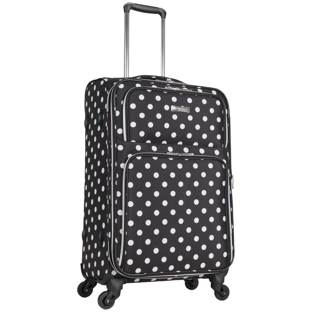 Albany Park 24 in. Lightweight Black/White Polka Dot Printed Expandable 4-Wheel