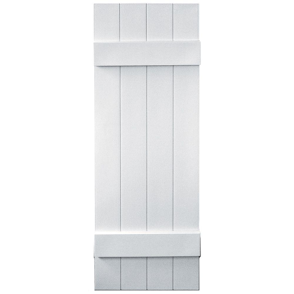 Builders Edge 14 in. x 43 in. Board-N-Batten Shutters Pair, 4 Boards Joined #001 White